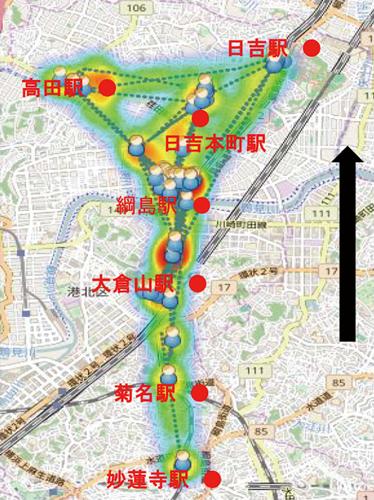 GeoSTRATOSで参加者の動きをヒートマップ表示している様子
